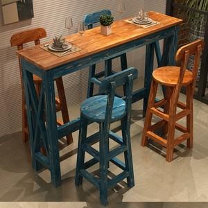 地中海实木阳台做旧高脚小吧台桌椅