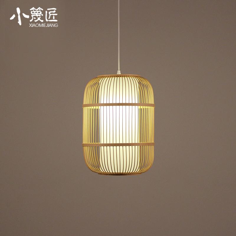 新中式禅意吊灯单个竹编鸟笼茶室灯日式餐厅茶楼走廊过道阳台灯笼