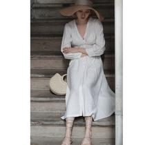 仙女复古法式v领遮肚长袖衬衫式连衣裙女收腰显瘦 气质长款 春夏