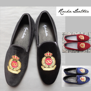 Rocha Leather velvet slippers embroidered crown male loafers loafers loafers boat shoes