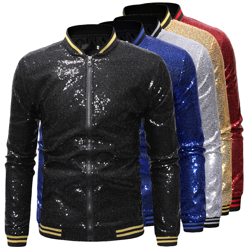 Fall new Sequin bar work clothes Baseball Jacket jacket fashionable youth short casual mens top