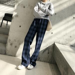 领5元券购买【现货】今年一ding要有一条的蓝色格子显瘦宽松羊毛直筒裤