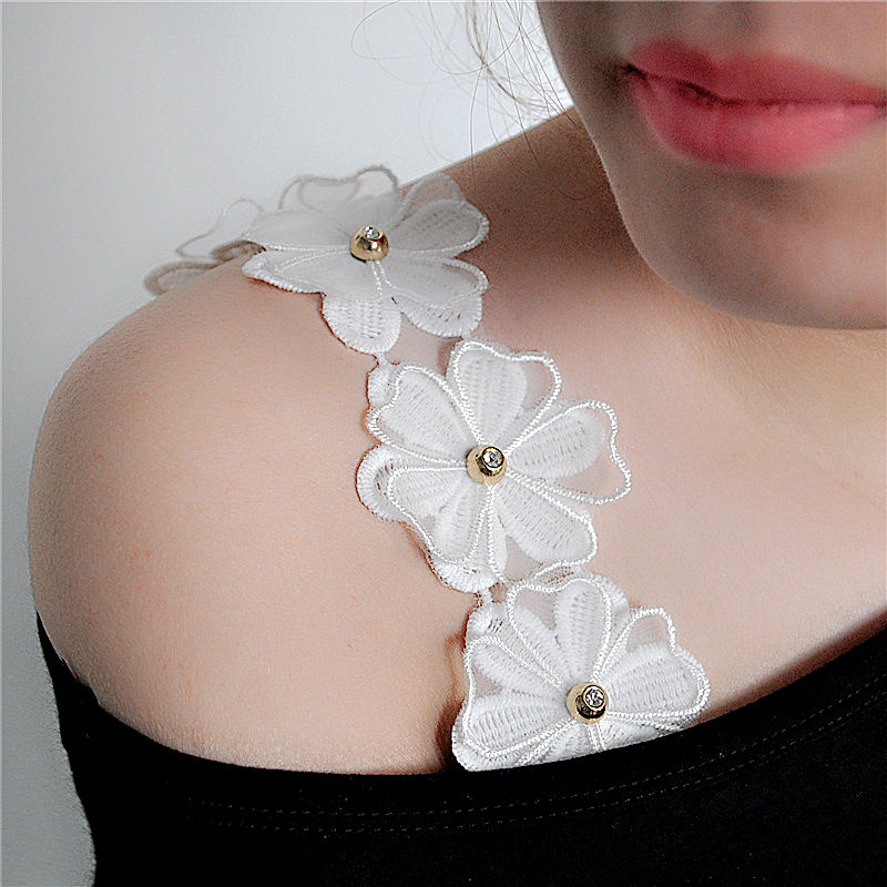 韩国甜美蝴蝶大蕾丝花朵肩带性感双肩内衣带钩花露肩文胸罩松紧带