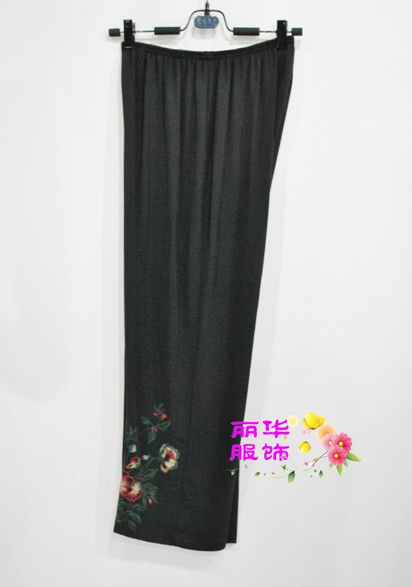 Authentic silk ice silkworm 1236 fashionable pure silk pants hand painted flower 100% mulberry silk large loose casual pants