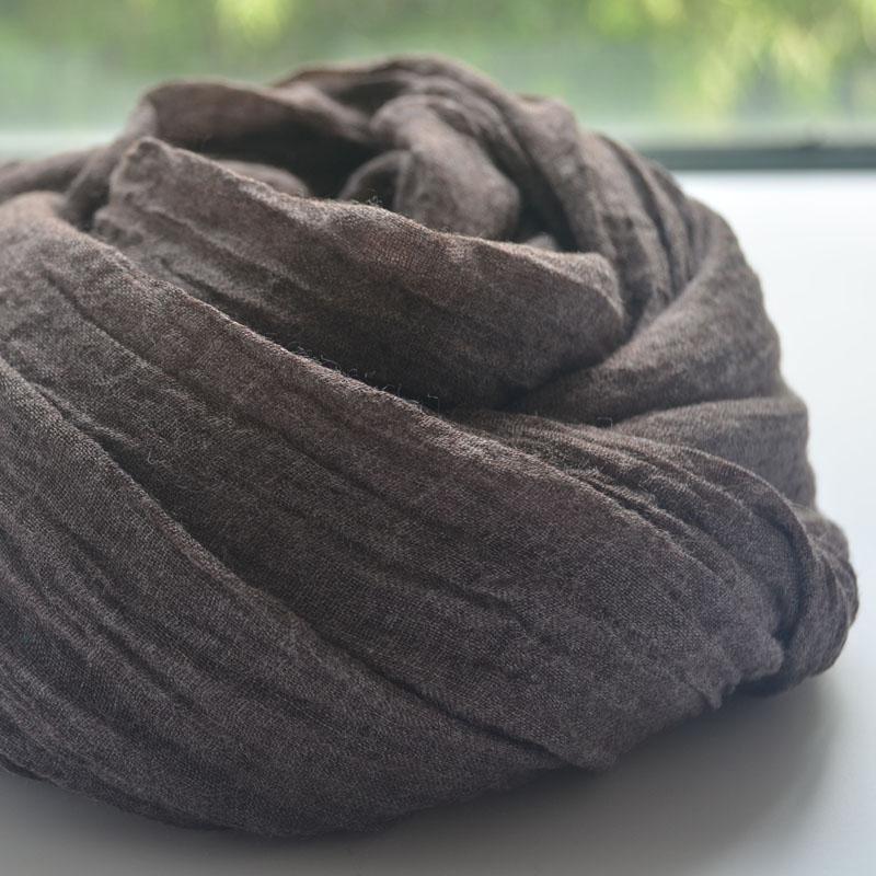 百搭男女文艺日系咖啡色纯色春秋超大长款棉麻围巾披肩薄款秋冬季