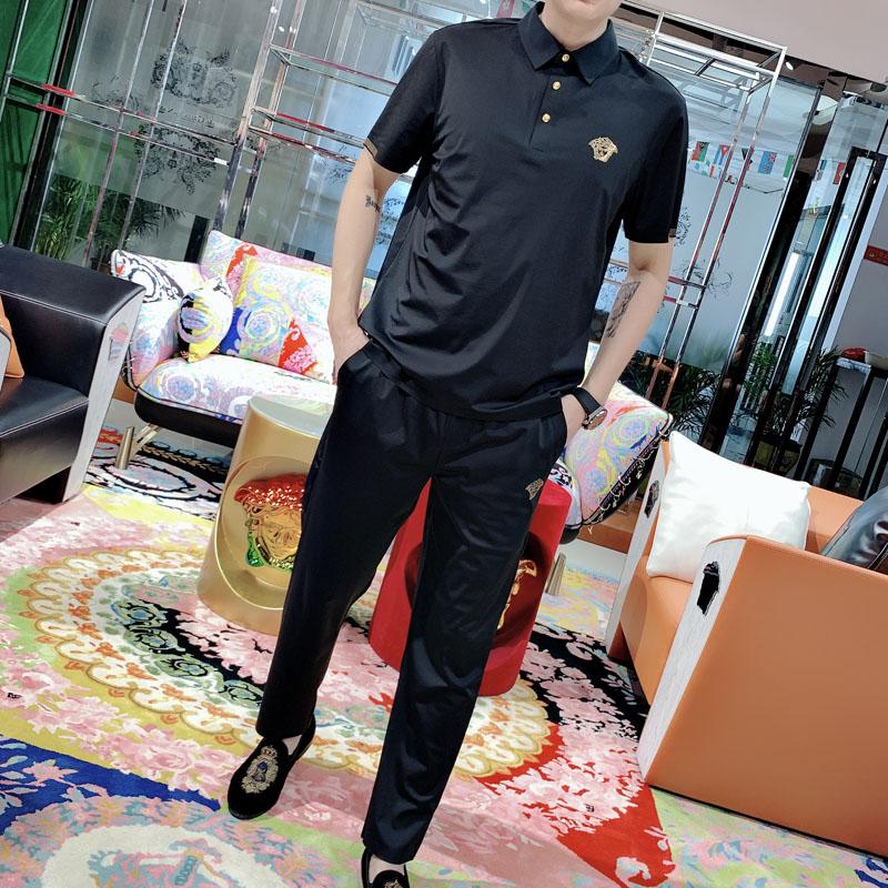 高端美杜莎套装锦铵冰丝滑潮男潮牌欧货短袖Polo衫+长裤两件套夏