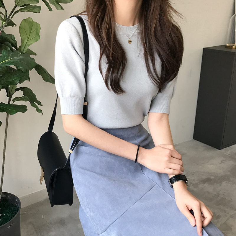 Spring dress womens 2021 new half high collar medium sleeve T-shirt Pullover solid color versatile 5-sleeve base coat