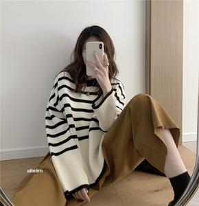 elielim巨好看含羊毛條紋針織衫外搭早秋新款慵懶風寬松毛衣外套