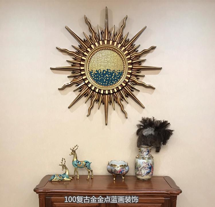 美式轻奢装饰画酒店客厅背景墙壁挂画北欧玄关过道挂饰太阳花挂画图片