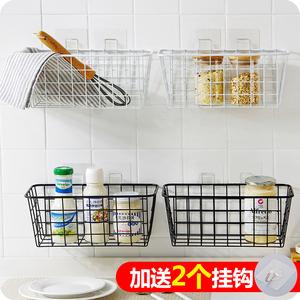优思居 厨房铁艺挂篮 壁挂式收纳篮厨房浴室免打孔储物篮置物篮