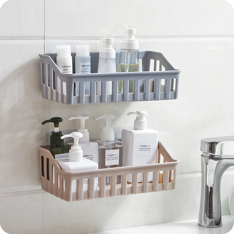 卫生间置物架浴室壁挂免打孔收纳架厕所洗手间马桶墙上塑料三角架