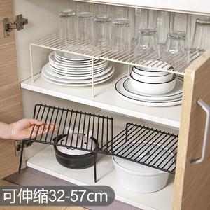 可伸缩铁艺厨房分层置物架橱柜碗碟架厨具沥水收纳架家用隔层架子