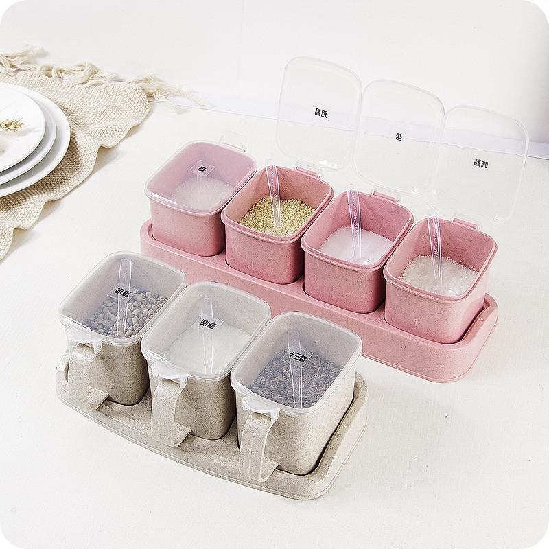 优思居麦香塑料套装厨房家用调味盒热销1243件限时抢购