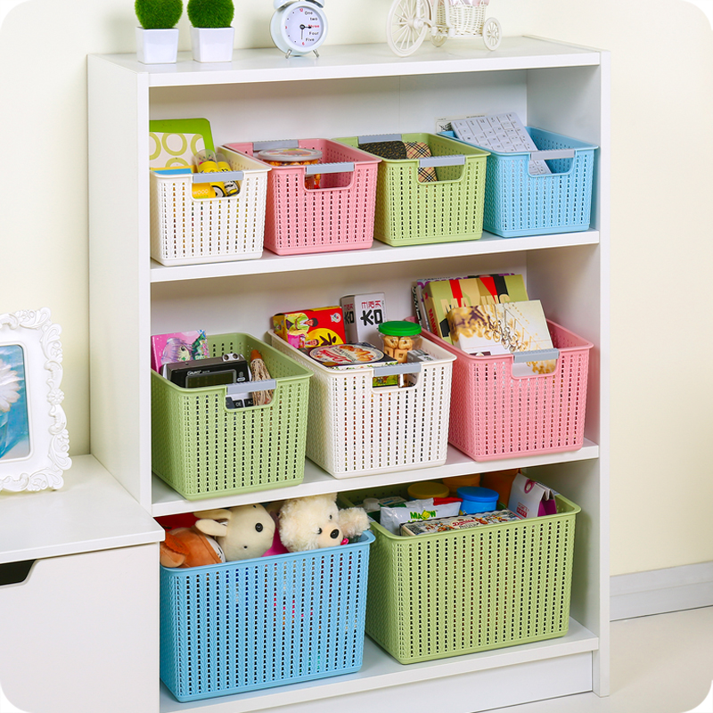 优思居 镂空塑料收纳筐长方形置物篮 家用桌面零食收纳篮杂物整箱