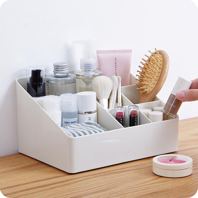 桌面杂物收纳盒 家用客厅遥控器储物盒加厚塑料多格化妆品整理盒