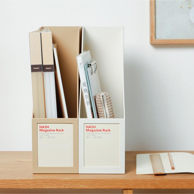 时代良品 简约单格A4桌面书架办公文件收纳座资料整理框塑料书立 Изображение 1