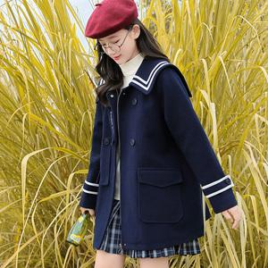 少女秋冬毛呢外套中长款高中初中学生甜美学院风呢子大衣加厚冬装