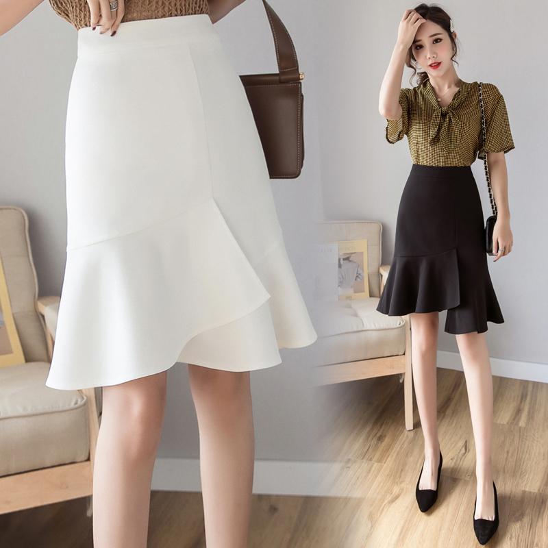 實拍現貨+時尚百搭不規則中長款半身裙春夏新款2021魚尾裙中裙
