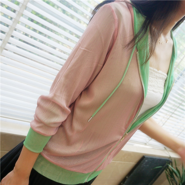 Wear silk knitted mesh cardigan on both sides, double-layer and two-color sunscreen coat, womens silk hooded zipper air conditioner garment