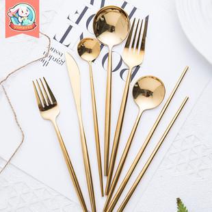 西餐金色筷子勺子叉子套装家用吃饭不锈钢日式创意刀叉餐具三件套价格