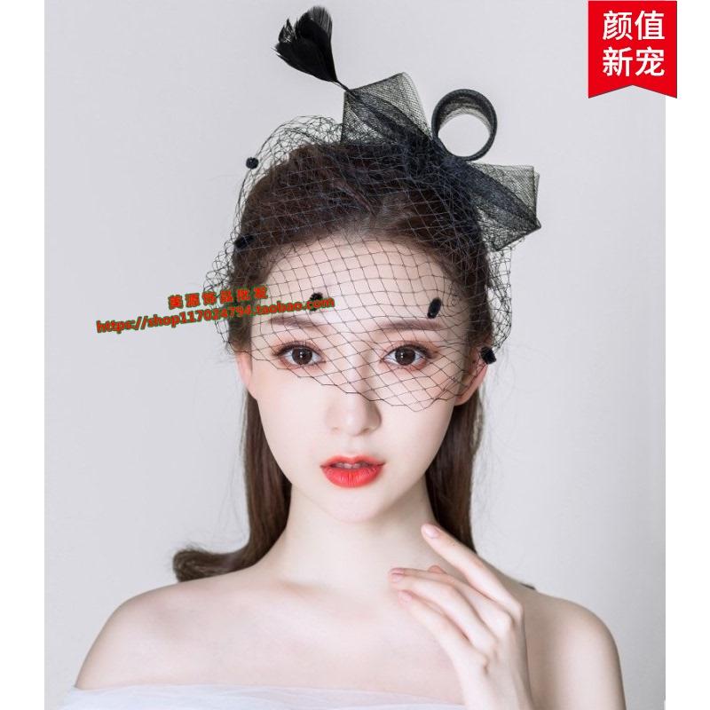 Top hat female headdress celebrity cheongsam accessories Republic of China bride hat veil dinner dress hair accessories retro Mesh Hat