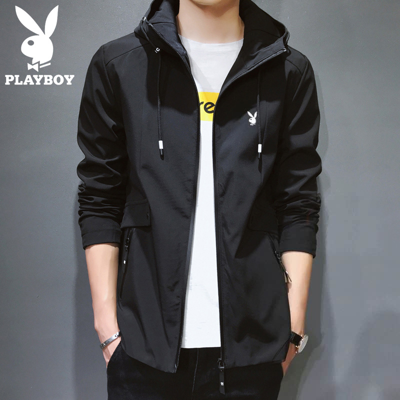 Playboy men's jacket trend autumn casual autumn jacket men's plus velvet spring and autumn jacket men's autumn and winter