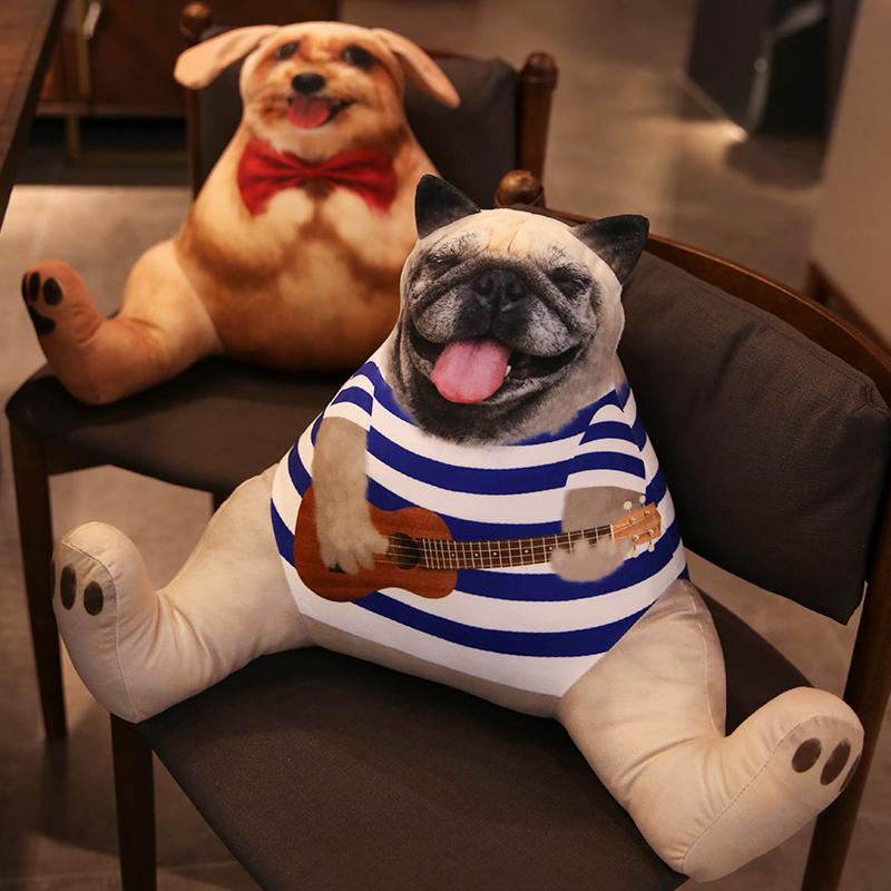 仿真狗座椅靠背垫办公室车用抱枕好不好