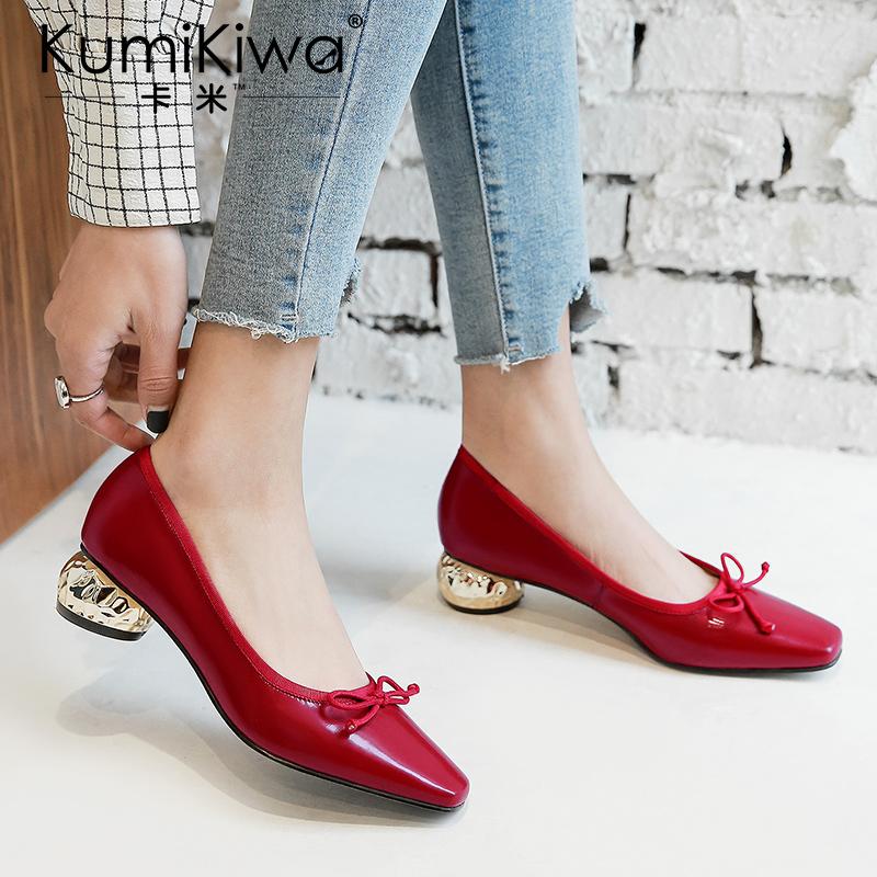 KumiKiwa卡米2020女鞋新款单鞋女中跟真皮粗跟浅口蝴蝶结低跟鞋女