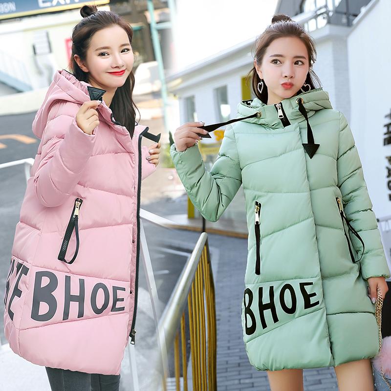 冬季15高初中学生羽绒棉服女中长款14韩版可爱加厚少女棉衣16岁18