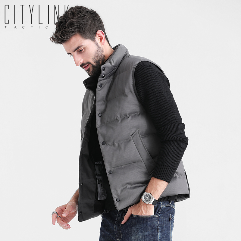 Vest men's spring coat warm vest sleeveless waistband, autumn and winter slim trend down cotton coat men's Vest