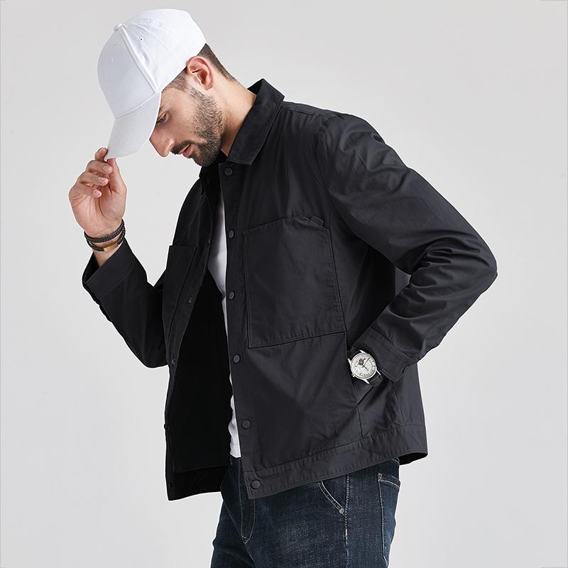 男士外套2021春季新款韩版潮流翻领工装春秋装上衣服帅气男装夹克
