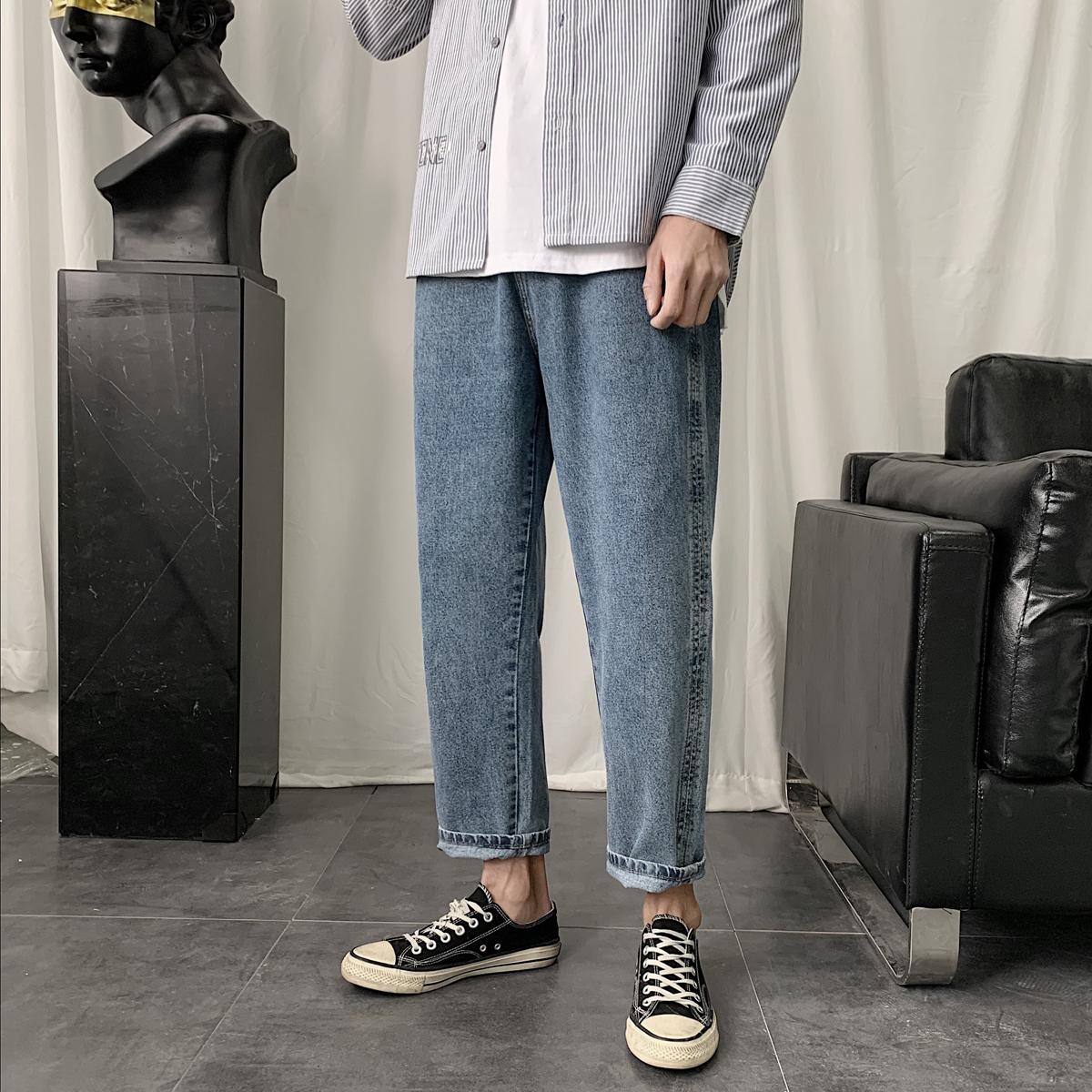 秋季港风潮男韩版修身小脚牛仔裤休闲裤精品NK8901B-P55-控69