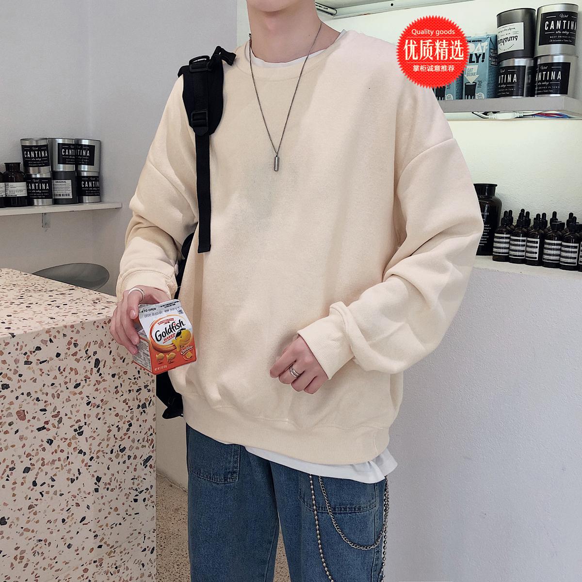 秋季港风情侣潮男韩版宽松纯色圆领卫衣外套长袖T恤W8001P45控59
