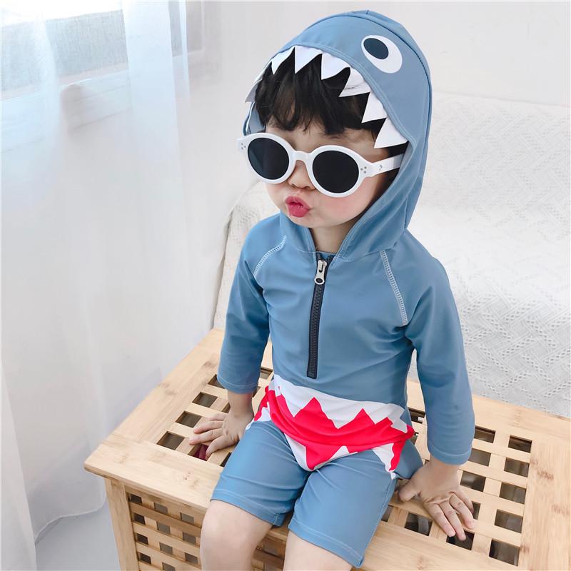 韩国新款连体鲨鱼可爱男女游泳衣