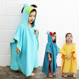 韩国可爱造型卡通纯棉浴袍儿童毛巾斗篷浴巾带帽宝宝沙滩巾浴衣