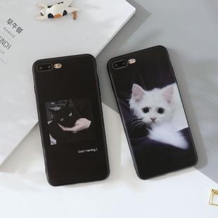 猫咪ins冷淡风12pro苹果11手机壳8plus软壳xr全包iphoneXsMax浮雕7p黑色创意6硅胶se女x款 挂绳 5新mini套s个性