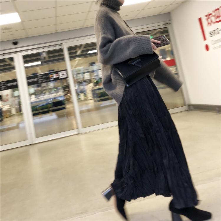 暗黑风褶皱半身裙侧拉链大裙摆舒适柔软秋冬黑色长裙女2件包邮