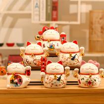 招财猫小摆件店铺开业礼物车载办公室创意家居客厅陶瓷存钱储蓄罐