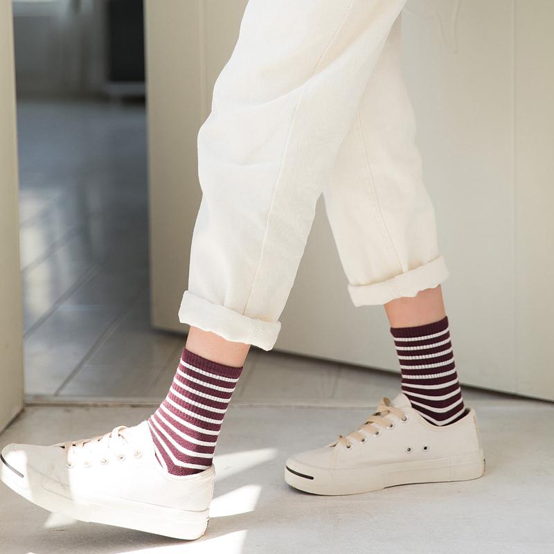 袜子女短袜韩国堆堆袜女夏季薄款纯棉韩版条纹长袜学院风女中筒袜