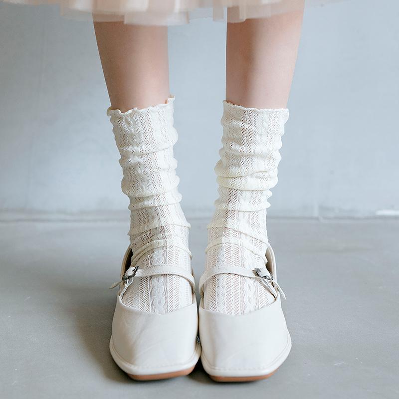 袜子女中筒袜纯棉天鹅绒夏季薄款堆堆袜日系镂空仙女袜百搭长筒袜