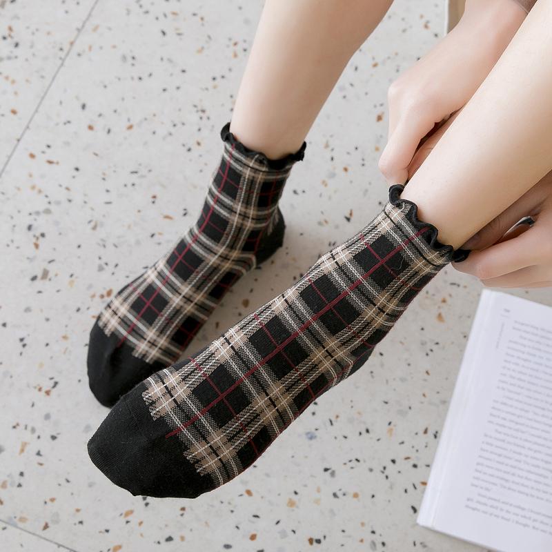 袜子女方格纯棉春秋薄款夏季短袜木耳花边日系中筒袜韩版学院风潮