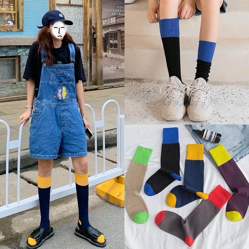 小腿袜女夏季薄款中筒袜秋半高筒长袜复古街头欧美潮ins袜子日系