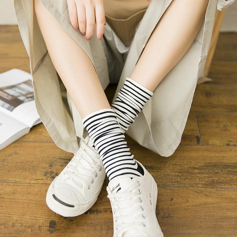 夏季子女纯棉潮条纹学院风堆堆袜