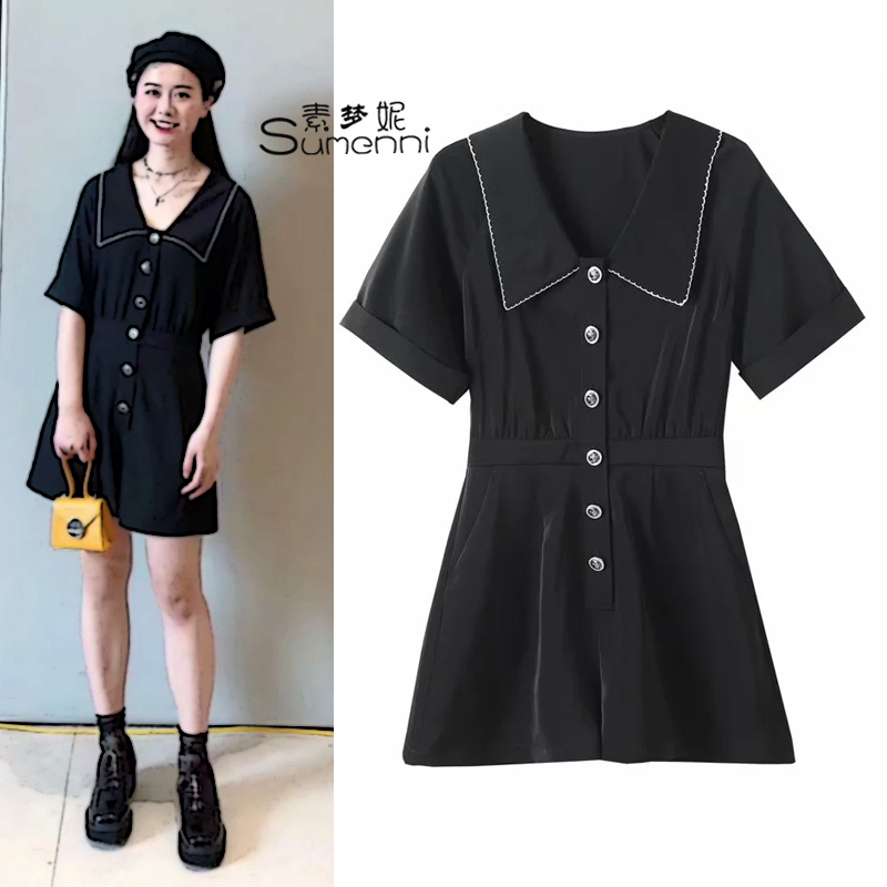 A5fba225289-2020 summer new birds fashion style large lapel Jumpsuit a5fba2252