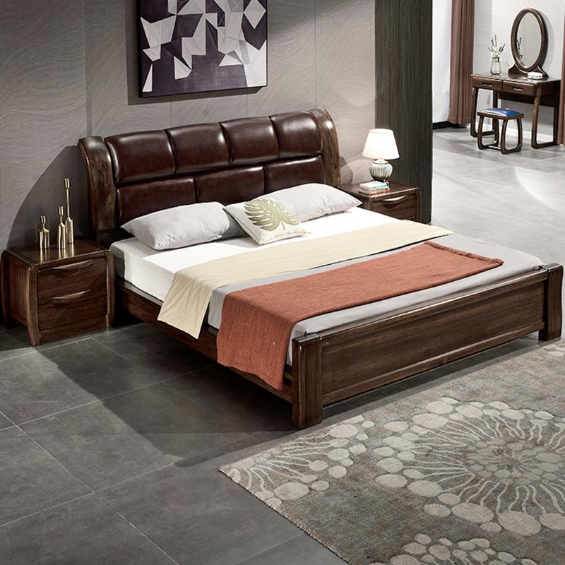 真木のベッドは1.5 m現代中国式の黒胡桃の木のベッドです。真皮のダブルベッドは1.8 mのベッドです。