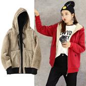 女士连帽 19秋冬新款 毛羊羔绒加绒加厚宽松拉链学生运动卫衣女韩版