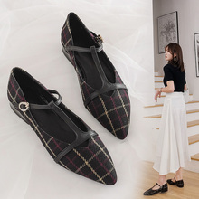 2020 new spring Korean sharp head color matching Plaid light mouth thick heel boat shoes all in one button flat sole women's single shoes