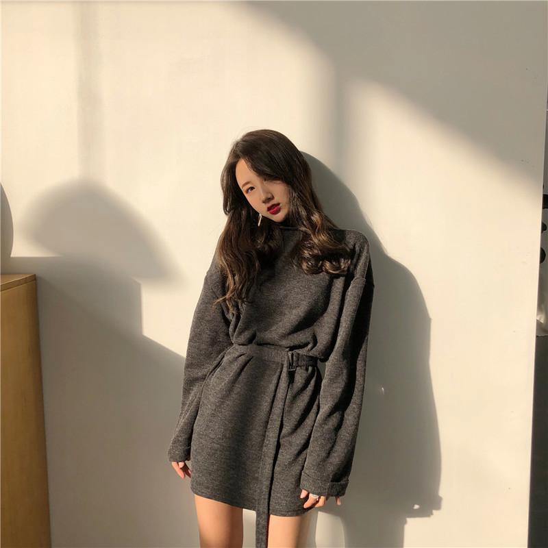 实拍韩国 chic风 宽松含腰带收腰气质高领怀旧连衣裙