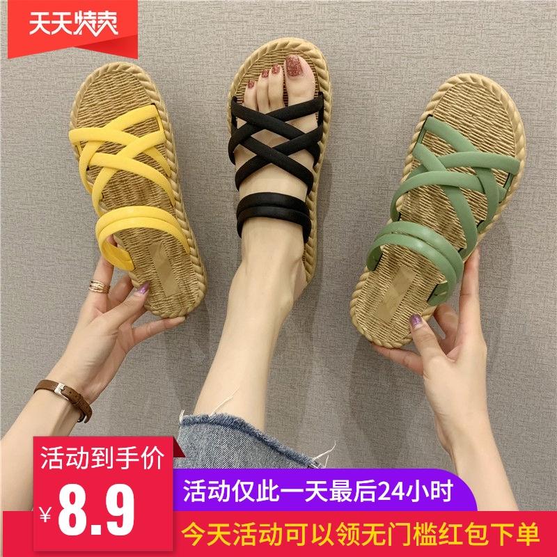 两穿凉鞋女2020新款夏韩版百搭网红平底时尚外穿学生罗马风凉拖鞋