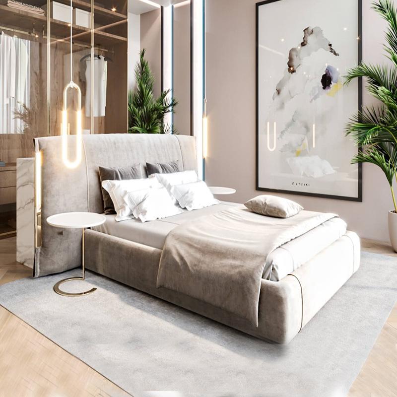 飞梵美艺 意式轻奢布艺床 主卧1.8米麂皮绒双人床大户型别墅家具